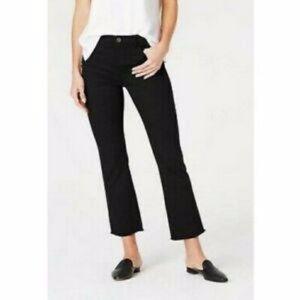 New J. Jill 12 P Kick Flare Ankle Black Jeans Raw